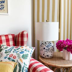 Vintage meets modern and art-inspired in this living room with a chic cabana stripe room divider with a vintage gingham chair. Channel this British maximalist vibe meets country style in this cozy fall living room. @our.modern.cottage Living Room Inspiration, Design Inspiration, Maximalist Interior, Striped Room, Fall Living Room, Fall Color Palette, Cabana, Modern Cottage, Interior Design