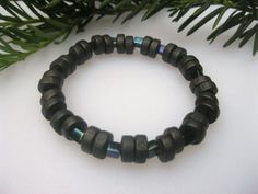 Handbeaded Black Wood, Iridescent Accents Stretch Bracelet | EclecticCraftVenue - Jewelry on ArtFire