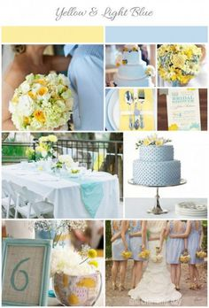 Fun Summer Wedding Colors: Light Blue and Yellow | Wedding, Summer and Inspiration Light Colors, Light Blue, Colours, Wedding Yellow, Summer Wedding Colors, Wedding Ideas, Wedding Styles, Inspiration Boards, Blue Yellow