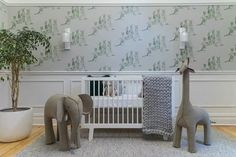 Is this the most stylish nursery in Australia? Is this the most stylish nursery in Australia?<br> Nadia Bartel's brand new baby room and how to steal the look - by Holly Byrne Floor To Ceiling Wardrobes, Australia Wallpaper, Wall Decor Lights, Calming Colors, Bed Wall, Nursery Design, Pottery Barn Kids, Kids Decor, Designer Wallpaper
