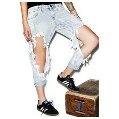 W.I.A X Dolls Kill Hole Sweatpants (£115) ❤ liked on Polyvore featuring activewear, activewear pants, white sweatpants, sweat pants, logo sportswear and white sweat pants