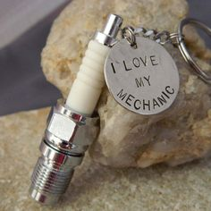 Spark Plug I Love My Mechanic Keychain by WireNWhimsy on Etsy, $38.00