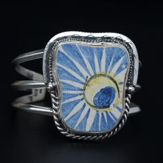 Sterling Silver and Vintage English Shard Cuff Bracelet by Tommy Conch Designs. American Made. See the designer's work at the 2015 American Made Show, Washington DC. January 16-19, 2015. americanmadeshow.com #cuff, #bracelet, #jewelry, #vintage, #sterlingsilver, #americanmade
