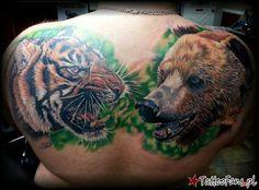 tygrys i niedźwiedź Tattoo by Rodney Eckenberger - Tattoo Fans ...
