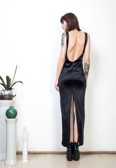 25561886026 Cut out dress 90s shiny black femme fatale glam maxi dress