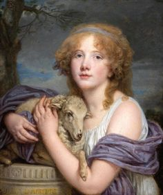 Jean-Baptiste Greuze Girl with a lamb Olio su tela, x cm Coll. Portraits, Portrait Art, Jean Baptiste, Oil Painting Reproductions, Hand Painting Art, Vintage Artwork, French Artists, A4 Poster, Sheep