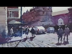 Watercolour Demonstration - How to Paint a Country Scene with House, Trees and People #1 - YouTube