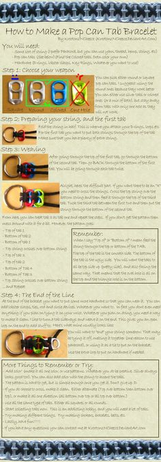 Tutorial: Pop Can Tab Bracelet by ~KrootonzNCheeze on deviantART by elma Soda Tab Crafts, Can Tab Crafts, Fun Crafts, Tape Crafts, Camping Crafts, Can Tab Bracelet, Pop Top Crafts, Pop Can Tabs, Soda Tabs