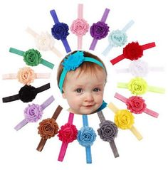 great idea for a baby shower gift! So many colors. one for every outfit. elastic shabby headband for toddlers and baby
