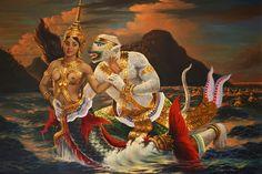 Ramayana Khmer Hanuman and Ravana's Mermaid Daughter