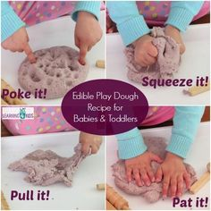 Edible Play Dough Recipe for Babies and Toddlers 2 Baby Sensory Play, Baby Play, Infant Sensory, Montessori Toddler, Toddler Play, Montessori Bedroom, Infant Activities, Activities For Kids, Preschool Ideas