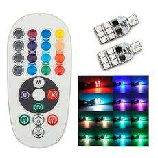 Hot 2 xT10 194 168 W5W Car Wedge Reading Lamp 12 LED colors Bulb With Remote Flash