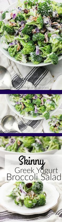 This skinny greek yogurt broccoli salad is a simple veggie dish that combines fresh broccoli spears, dried cranberries, and a sweet creamy dressing made with greek yogurt! It's the perfect healthy side dish to any winter meal! www.blessherheartyall.com