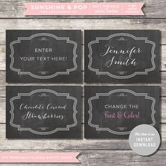 INSTANT DOWNLOAD -  Chalkboard EDITABLE Folding Buffet Card, Food Tag, Label Pdf - Wedding Decorations Printable  Baby Shower Mustache Bash on Etsy, $6.50