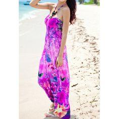 Color Block Sleeveless Halter Butterfly Print Casual Ankle-Length Dress, VIOLET, L in Bohemian Dresses   DressLily.com