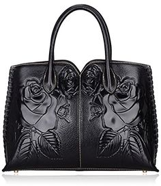 Pifuren Inspired Designer Embossed Rose Leather Tote Shoulder Handbags P20156 (black) -- Be sure to check out this awesome product.
