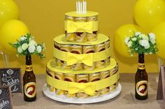 Bolo de Lata de Cerveja: Como Fazer e Fotos - Artesanato Passo a Passo! Ideas Para Fiestas, Cafe Bar, Creative Cakes, Ale, Happy Birthday, Party, Instagram, Desserts, Pastries