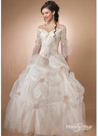 Party Dresses Tulle Modest Long Sleeve Quinceanera Dress