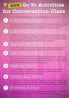 POSTER: 7 New Go To Activities for Conversation Class