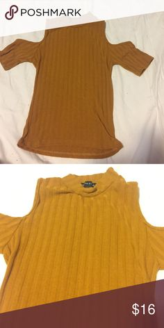 Kendall & Kylie cold shoulder top Mustard yellow, and made out of sweater material. Great for fall and I love the color. Kendall & Kylie Tops Blouses