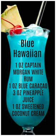 Try the Captain's Blue Hawaiian cocktail using Captain Morgan White Rum, blue curacao, pineapple juice, and sweetened coconut cream. Check out more Captain Morgan rum drink recipes. Liquor Drinks, Cocktail Drinks, Beverages, Sweet Cocktails, Blue Drinks, Mixed Drinks, Blue Alcoholic Drinks, Alcholic Drinks, Alcohol Drink Recipes