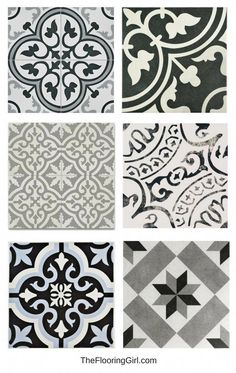 stenciled tiled floors - black, white and gray vintage tiles for a retro or farmhouse style look - bathroom flooring trends. stenciled tiled floors - black, white and gray vintage tiles for a retro or farmhouse style look - bathroom flooring trends. Room Flooring, Vintage Tile, Bathroom Renovations, Bathroom Flooring, Flooring Trends, Tile Bathroom, Bathroom Flooring Trends, Bathroom Trends, Tile Trends