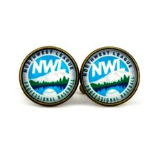 Northwest League Logo cufflinks. Professional Baseball. NWL.Western International League.  Personalised  Men's jewelry accessories gift. by Mysstic on Etsy