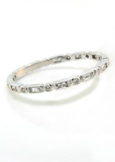 Eric Trabert Round and Baguette Diamond Bezel Eternity Band