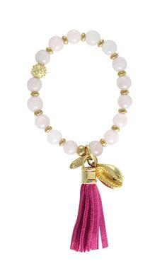 Ettika :: 2014 :: Boho :: Femme Fatale Rose Quartz beads with cowrie sea shell pendant and pink leather tassel
