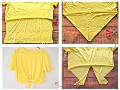 DIY Knot Crop Top. Cut the back of an old tshirt to the desired length. Cut the front into a V shape and then cut up the middle of the V. Put it on and tie!