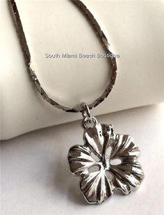 Silver Hibiscus Flower Pendant Necklace Beach Caribbean Hawaiian Island USSeller #SouthMiamiBeachBoutique #Pendant