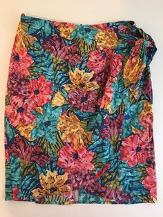 Vintage Womens Wrap Skirt Floral Wrapper Beach Cover Up With Tie sz 9/10   eBay