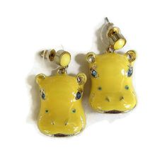 Figural Hippo Earrings in Yellow Enamel & Blue by MyVintageJewels