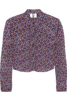 Ottoline cropped silk crepe de chine blouse #silkblouse #women #covetme #topshopunique
