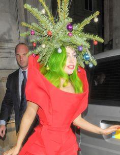 lady gaga is a human christmas tree - Ugly Christmas Hats