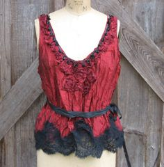 silk camisole with lace romantic gypsy bohemian by BonnieHarris