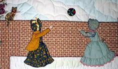 "#1 ""Bonnet Proportional Children & Borders""  Tossing Ball.    Designed as a border around the quilt, 12"" wide.  There are several gates and 27 children. This is ""The Wall Border.""  The figures of the Bonnet Girls: Gentlewomen are interchangeable, the children were resized so that they can be used with adult figures. The quilter can use them  with any figure or block they choose.  Wall Border 28.00  Children 28.00"
