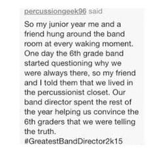 "965 Me gusta, 2 comentarios - BAND (@bandpros) en Instagram: ""Chill band directors are so great -KickBrass"""
