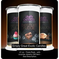 Candles 21 oz x3 - Guilty Pleasures - Simply Great Exotic Jewelry In Candles. Www.jewelryincandles.com/store/mphan