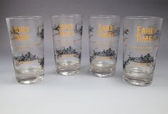 4 MCM cocktail bar tumblers Early Times Kentucky Bourbon Whiskey transportation