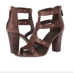 """Franco Sarto Jett leather sandal heels Sz 9 new Franco Sarto Jett leather sandal heels Sz 9 new without box store display Leather manmade sole Shaft measures approximately 4.5"""" from arch Franco Sarto Jett Franco Sarto Shoes"""