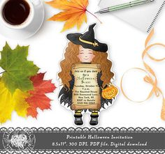 Witch Halloween Invitation Birthday Halloween Invitation