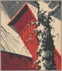 """""""Red Barn and Tree Trunk"""" - Eyvind Earle (Number and Title from The Complete Christmas Card Art of Eyvind Earle, Eyvind Earle, Illustrator, Environment Concept Art, Art Moderne, Linocut Prints, Art Plastique, Tree Art, Les Oeuvres, Art Inspo"""