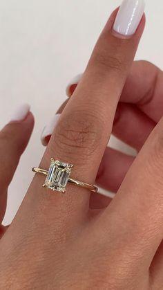 Emerald Cut Diamond Engagement Ring, Emerald Cut Rings, Yellow Engagement Rings, Beautiful Engagement Rings, Emerald Cut Diamonds, Gold Engagement Rings, Diamond Cuts, Emerald Cut Wedding Band, Emerald Cut Eternity Band