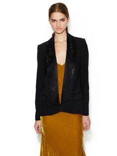 Open Collar Embellished Blazer