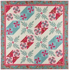 "Chelsea, 85 x 85"", quilt pattern by A Graceful Stitch. Applique and piecing."