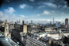 London Skyline looking East across the city to St Pauls, Tower Bridge, The Shard, from central London.