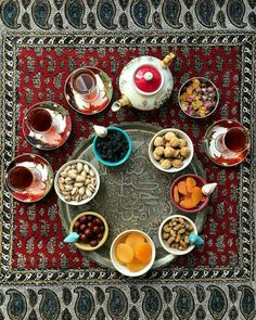 Afternoon tea with dried fruits, Iran