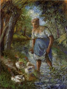 Peasant Crossing a Stream - Camille Pissarro