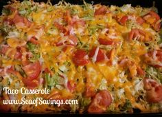 RECIPE OF THE DAY - Taco Casserole 1 7oz. bag Nacho Cheese Doritos, crushed 1 lb. hamburger, browned 1 pkg. taco seasoning, mixed according to directions 1 (8 oz.) pkg. shredded Cheddar cheese 1 (8 oz.) pkg. shredded Mozzarella cheese Shredded Lettuce Sliced tomato  Layer ingredients in 9 x 13 pan as listed - crushed chips, meat and seasonings, 2/3 of cheese, lettuce, tomato, and remaining cheese. Bake at 350 degrees for 15 minutes.